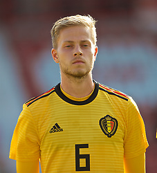 WREXHAM, WALES - Friday, September 6, 2019: Belgium's Dante Rigo lines-up before the UEFA Under-21 Championship Italy 2019 Qualifying Group 9 match between Wales and Belgium at the Racecourse Ground. (Pic by Laura Malkin/Propaganda)