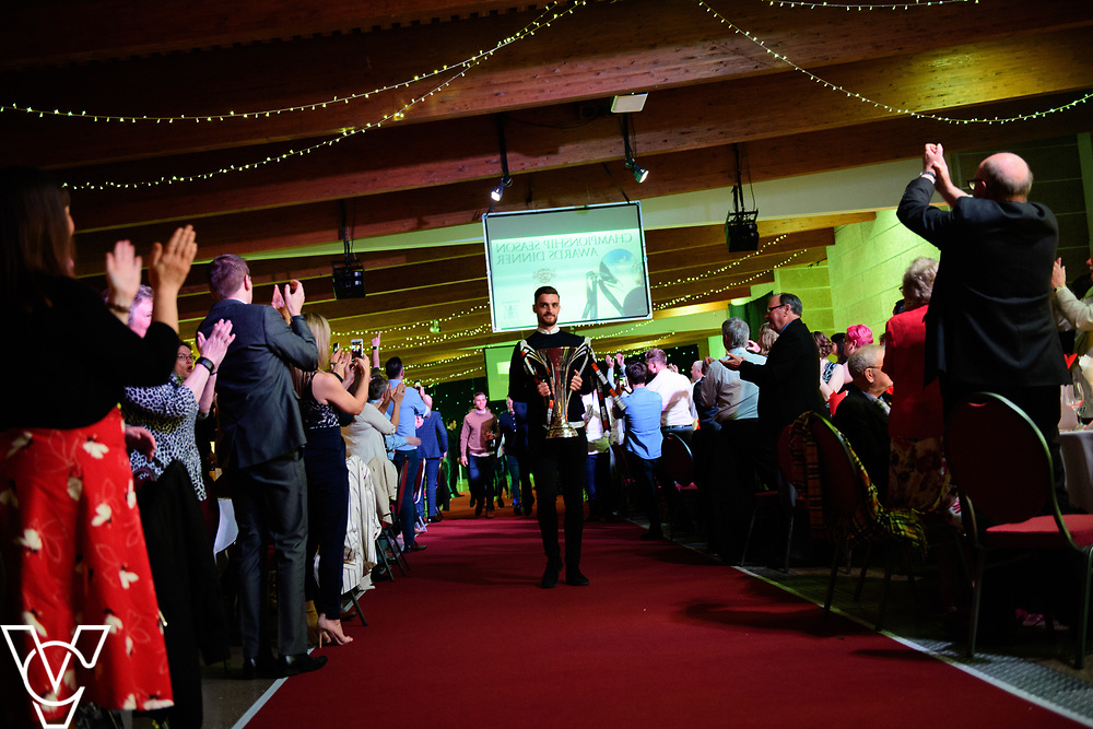 Lincoln City Football Club's 2016/17 End of Season Awards night - Championship Seasons Awards Dinner - held at the Lincolnshire Showground.  Lincoln City's Luke Waterfall carried the Vanarama National League Trophy into the room at the start of the evening.<br /> <br /> Picture: Chris Vaughan Photography for Lincoln City Football Club<br /> Date: May 20, 2017