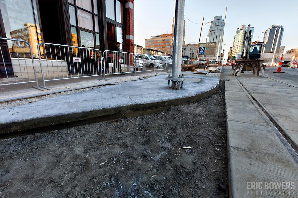 Construction progress on Kansas City Streetcar line along Main Street in downtown Kansas City.