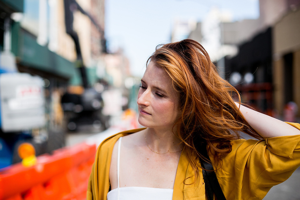 NEW YORK, NY - JUNE 30, 2016: Actress Grace Gummer walks toward the David Zwriner gallery in New York, New York. CREDIT: Sam Hodgson for The New York Times.