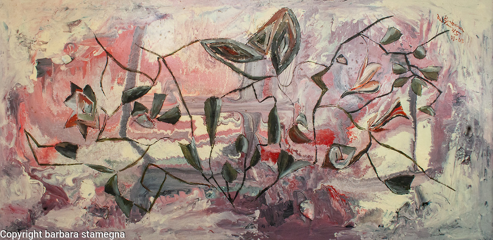 Gray and black rose garden like geometric and curved shapes and lines on pink, white, red and gray enamel background.