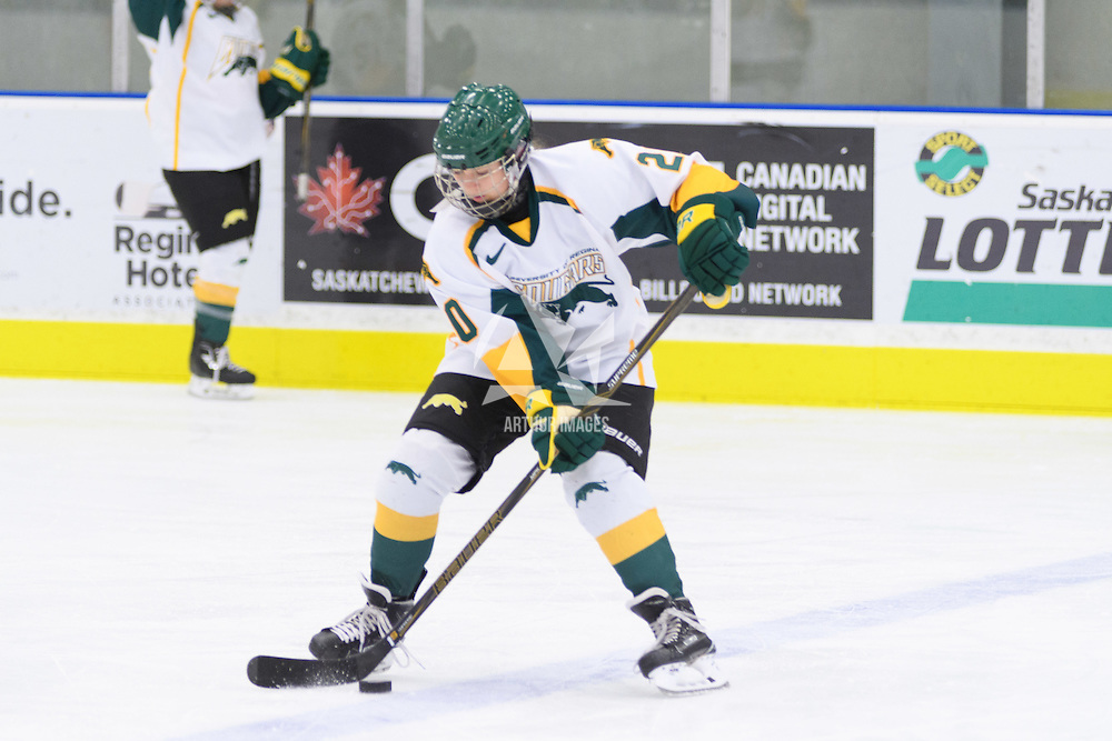 1st year defender Mariah McKersie (20) of the Regina Cougars in action during the Women's Hockey Home Game on October 14 at Co-operators arena. Credit: Arthur Ward/Arthur Images