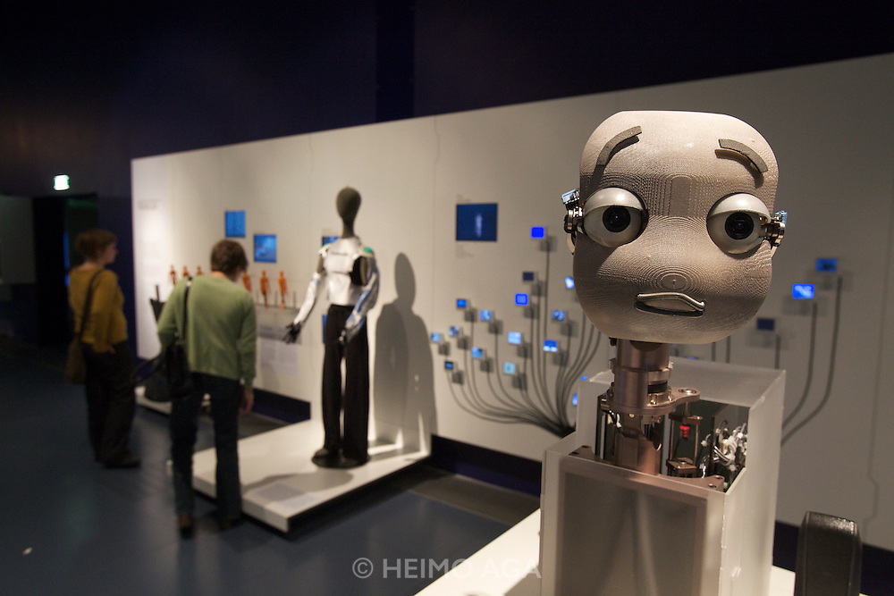Linz, Cultural Capital of Europe 2009. Ars Electronica Center. Level -3: Main Gallery. New Views of Humankind. RoboLab. Mertz by M.I.T. (Massachusetts Institute of Technology) - a human-like robot face being able to make gestures and facial expressions.