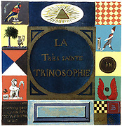 Title page of 'La Tres Sainte Trinosophie'. 18th century cabbalistic-alchemical manuscript attributed to Comte de Sainte-Germain, showing symbols summarising Hermetism