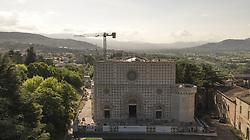 June 8, 2017 - L'Aquila, Italy - A drone's view of Basilica di Santa Maria di Collemaggio on June 8, 2017 in L'Aquila, Italy. (Credit Image: © Manuel Romano/NurPhoto via ZUMA Press)