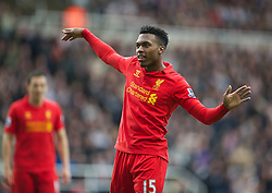 27.04.2013, St. James Park, Newcastle, ENG, Premier League, Newcastle United vs FC Liverpool, 35. Runde, im Bild Liverpool's Daniel Sturridge celebrates scoring the third goal against Newcastle United during the English Premier League 35th round match between Newcastle United and Liverpool FC at the St. James Park, Newcastle, Great Britain on 2013/04/27. EXPA Pictures © 2013, PhotoCredit: EXPA/ Propagandaphoto/ David Rawcliffe..***** ATTENTION - OUT OF ENG, GBR, UK *****