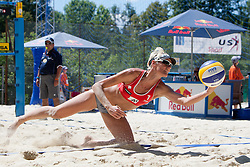 Andreja Vodeb of Slovenia at A1 Beach Volleyball Grand Slam presented by ERGO tournament of Swatch FIVB World Tour 2012, on July 18, 2012 in Klagenfurt, Austria. (Photo by Matic Klansek Velej / Sportida)