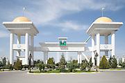 Entrance gateway to the President of Turkmenistan's Ahal Teke Horse Complex outside Ashgabat