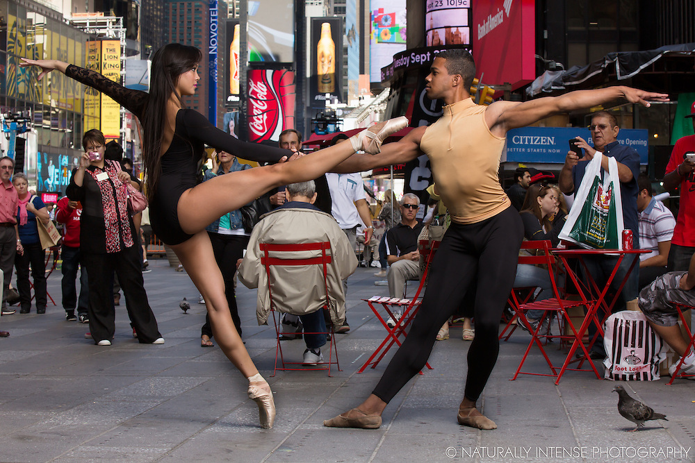Ballerinas Sabrina Imamura and Julian Watson- Times Square New York City. Dance As Art- The New York Photography Project.