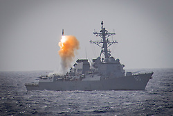 March 17, 2019 - Philippine Sea - The guided missile destroyer USS McCampbell launches a missile during an exercise in the Philippine Sea, March 17, 2019. (Credit Image: ? US Navy/ZUMA Wire/ZUMAPRESS.com)
