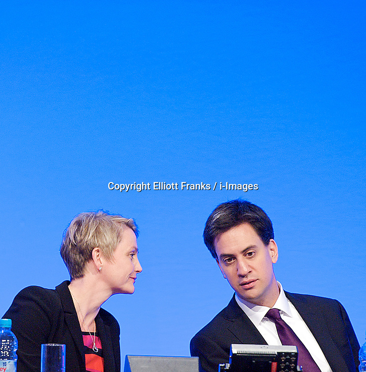 Yvette Cooper MP Shadow Home Secretary with Ed Miliband during the Labour Party Conference in Manchester, October 3, 2012. Photo by Elliott Franks / i-Images.