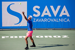 Anze Arh (SLO) play against Markus Eriksson (SWE) at ATP Challenger Zavarovalnica Sava Slovenia Open 2018, on August 5, 2018 in Sports centre, Portoroz/Portorose, Slovenia. Photo by Urban Urbanc / Sportida