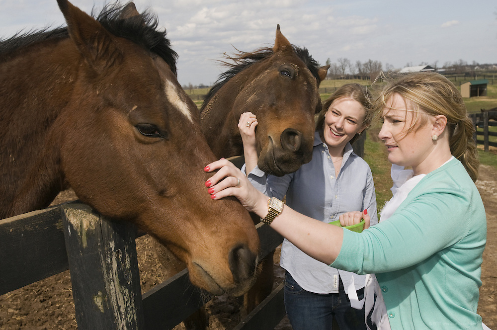 Sisters Kim Boyle, 25, center, and Aimee Wulfeck, 30, of Ft. Mitchell, Ky., founders of Ferdinand's Ball, feed mints to retired thoroughbreds Popcorn Deelites, left, who was cast as one of the six horses that played Seabiscuit, and Special Ring, Wednesday, March 7, 2012, during a visit to Old Friends in Georgetown, Ky. (Photo by Brian Bohannon)