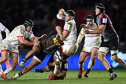 Marcell Coetzee of Ulster takes on the Harlequins defence - Mandatory byline: Patrick Khachfe/JMP - 07966 386802 - 13/12/2019 - RUGBY UNION - The Twickenham Stoop - London, England - Harlequins v Ulster Rugby - Heineken Champions Cup