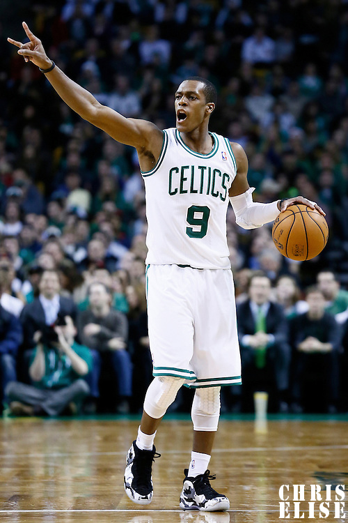 19 December 2012: Boston Celtics point guard Rajon Rondo (9) sets the offense during the Boston Celtics 103-91 victory over the Cleveland Cavaliers at the TD Garden, Boston, Massachusetts, USA.