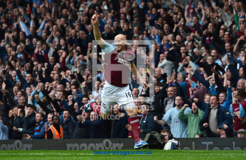 Picture by Andrew Timms/Focus Images Ltd +44 7917 236526.20/10/2012.James Collins of West Ham United celebrates his teams 1st goal during the Barclays Premier League match against Southampton at the Boleyn Ground, London.