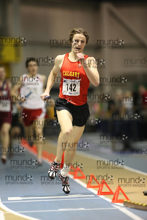 Windsor, Ontario ---13/03/09--- Scott Nicol of  the University of Calgary competes in the 4x800m Relay at the CIS track and field championships in Windsor, Ontario, March 13, 2009..Sean Burges Mundo Sport Images