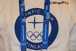 February 8, 2018 - Pyeonchang, Republic of Korea - A detail of the shirt worn by a member of the Finnish cross country ski team at a press conference prior to the start of the 2018 Olympic Games (Credit Image: © Christopher Levy via ZUMA Wire)
