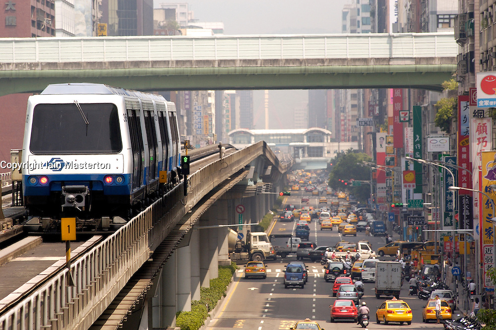 Elevated mass transit railway and urban street in Taipei Taiwan