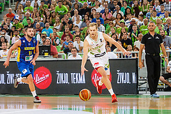 Jaka Blazic of Slovenia and Dardan Berisha of Kosovo during qualifying match between Slovenia and Kosovo for European basketball championship 2017,  Arena Stozice, Ljubljana on 31th August, Slovenia. Photo by Grega Valancic / Sportida