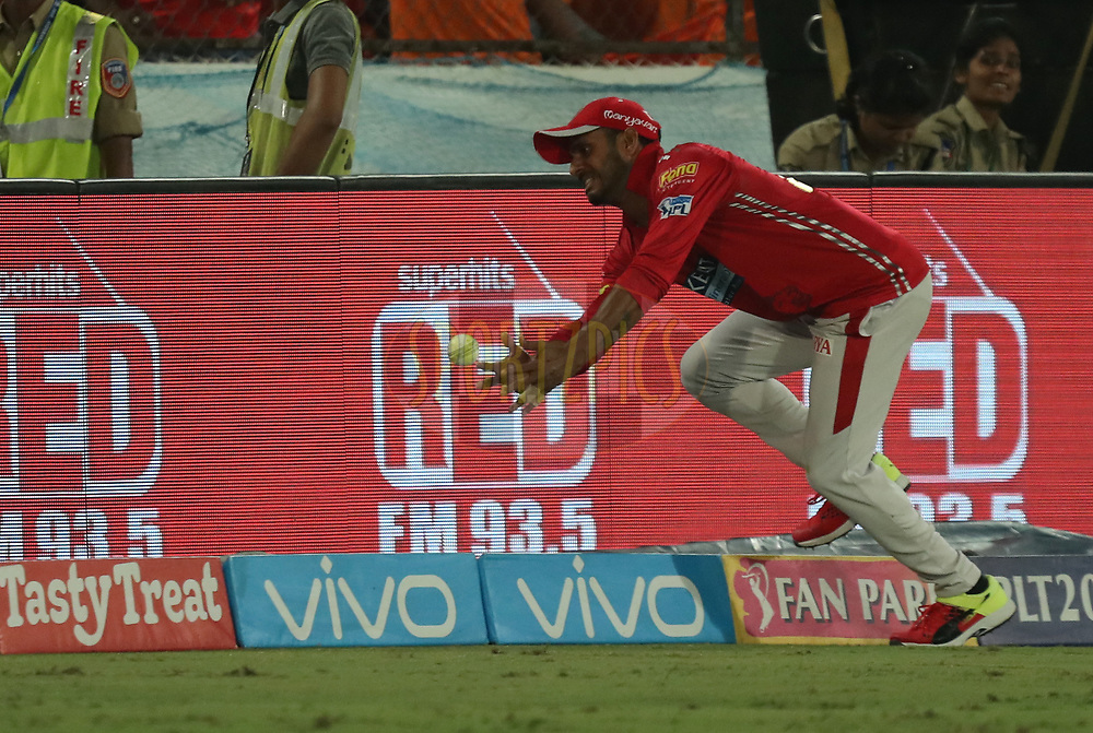 Manoj Tiwary of Kings XI Punjab dropped the catch during match twenty five of the Vivo Indian Premier League 2018 (IPL 2018) between the Sunrisers Hyderabad and the Kings XI Punjab  held at the Rajiv Gandhi International Cricket Stadium in Hyderabad on the 26th April 2018.<br /> <br /> Photo by: Prashant Bhoot /SPORTZPICS for BCCI