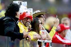 A Colombia fan in the stands wears a drinking helmet prior to the FIFA World Cup 2018, round of 16 match at the Spartak Stadium, Moscow.