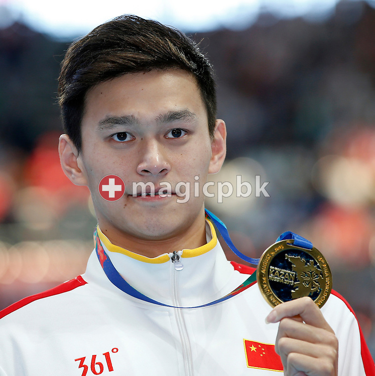 Yang Sun of China poses with his Gold medal after winning in the men's 400m Freestyle Final during the 16th FINA World Swimming Championships held at the Kazan arena in Kazan, Russia, Sunday, Aug. 2, 2015. (Photo by Patrick B. Kraemer / MAGICPBK)