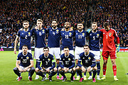 Scotland  Team: back row L-R Scotland defender Stephen O'Donnell (2) (Kilmarnock) Scotland midfielder Scott McTominay (6) (Manchester United) Scotland defender Charlie Mulgrew (4) (Wigan Athletic) Scotland forward Matt Phillips (19) (West Bromwich Albion) Scotland midfielder Robert Snodgrass (17) (West Ham) Scotland defender Liam Cooper (5) (Leeds United) Scotland goalkeeper David Marshall (1) (Wigan Athletic) front row L-R Scotland midfielder Ryan Christie (20) (Celtic) Scotland defender Andrew Robertson (3) (Liverpool) Scotland midfielder Callum McGregor (10) (Celtic) Scotland midfielder Kenny McLean (16) (Norwich City) during the UEFA European 2020 Qualifier match between Scotland and Belgium at Hampden Park, Glasgow, United Kingdom on 9 September 2019.
