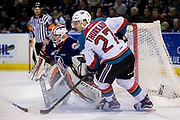 KELOWNA, CANADA - MARCH 25:  Calvin Thurkauf #27 of the Kelowna Rockets, Connor Ingram #39 of the Kamloops Blazers at the Kelowna Rockets game on March 24, 2017 at Prospera Place in Kelowna, British Columbia, Canada.  (Photo By Cindy Rogers/Nyasa Photography,  *** Local Caption ***