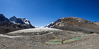 The toe of the Athabasca Glacier is a short walking distance from a gravel parking area. The glacier is located in Jasper National Park, Alberta and has receded nearly 1 mile in the last 125 years.