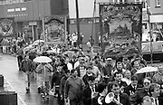 Grimesthorpe, Shafton Workshops and Houghton Main Branch banners. 1991 Yorkshire Miners Gala. Doncaster.