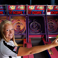 Topsail's Summer Darnell at the Carolina Beach arcade on the boardwalk. Photo by Mike Spencer