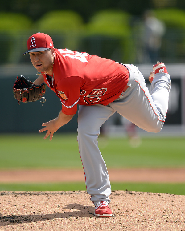 GLENDALE, ARIZONA - MARCH 4:  Tyler Skaggs #45 of the Los Angeles Angels of Anaheim pitches during the spring training game against the Chicago White Sox on March 4, 2017 at Camelback Ranch in Glendale Arizona.  (Photo by Ron Vesely)   Subject:  Tyler Skaggs