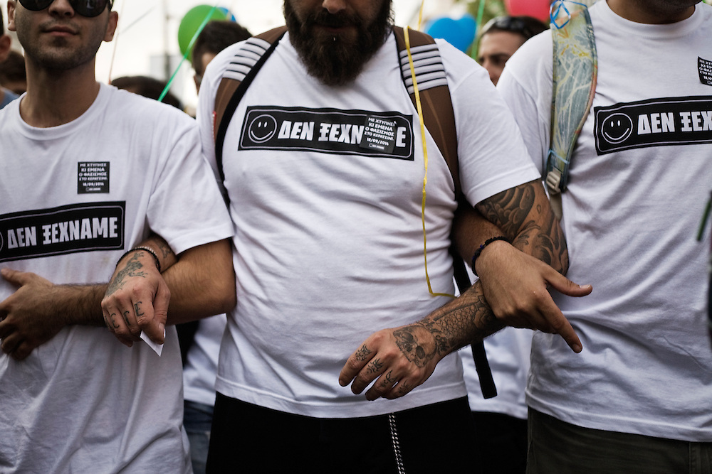 Greece, Athens, Keratsini, September 18th, 2014 - People wear T-shirts reading ''we do not forget'' during events for the one-year since the musician Pavlos Fyssas was stabbed to death by a member of the ultra-right Golden Dawn party.