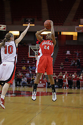26 February 2009: Kristi Cirone is too late to stop a long deuce by Skye Johnson. The Braves of Bradley  and the Illinois State Redbirds battled it out on Doug Collins Court inside Redbird Arena on the campus of Illinois State University, Normal Il.