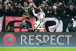 24.02.2015, Juventus Stadium, Turin, ITA, UEFA CL, Juventus Turin vs Borussia Dortmund, Achtelfinale, Hinspiel, im Bild Torjubel von Alvaro Morata #9 (Juventus Turin) // during the UEFA Champions League Round of 16, 1st Leg match between between Juventus Turin and Borussia Dortmund on at the Juventus Stadium in Turin, Italy on 2015/02/24. EXPA Pictures © 2015, PhotoCredit: EXPA/ Eibner-Pressefoto/ Kolbert<br /> <br /> *****ATTENTION - OUT of GER*****