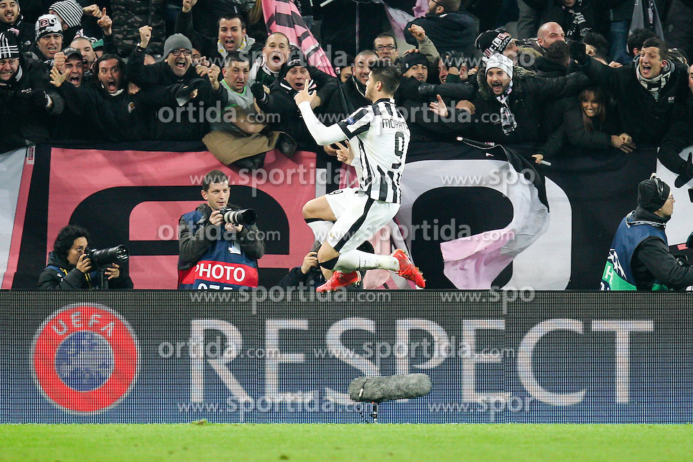 24.02.2015, Juventus Stadium, Turin, ITA, UEFA CL, Juventus Turin vs Borussia Dortmund, Achtelfinale, Hinspiel, im Bild Torjubel von Alvaro Morata #9 (Juventus Turin) // during the UEFA Champions League Round of 16, 1st Leg match between between Juventus Turin and Borussia Dortmund on at the Juventus Stadium in Turin, Italy on 2015/02/24. EXPA Pictures &copy; 2015, PhotoCredit: EXPA/ Eibner-Pressefoto/ Kolbert<br /> <br /> *****ATTENTION - OUT of GER*****