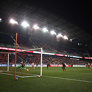 Goalkeeper Joe Willis, Houston Dynamo, is beaten by a shot from Sacha Kljestan, New York Red Bulls, for the first goal of the match in the New York Red Bulls, 4-3 win during the New York Red Bulls Vs Houston Dynamo, Major League Soccer regular season match at Red Bull Arena, Harrison, New Jersey. USA. 19th March 2016. Photo Tim Clayton