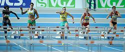 07-02-2010 ATLETIEK: NK INDOOR: APELDOORN<br /> Rosina Hodde wordt 2de op de 60 m horden, rechts Laura Molenaar en winnares Karin Ruckstuhl en links Remona Fransen<br /> ©2010-WWW.FOTOHOOGENDOORN.NL