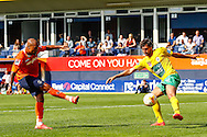 Ross Lafayette of Luton Town scores his team's third goal to make it 3-0 during the Pre Season Friendly match at Kenilworth Road, Luton<br /> Picture by David Horn/Focus Images Ltd +44 7545 970036<br /> 26/07/2014