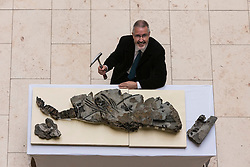 The fossilised skeleton of a Jurassic sea creature from the Ichthyosaurs family found on Skye in 1966 has been unveiled at the National Museum of Scotland by scientists for the first time. Named the Storr Lochs Monster, it is the most complete skeleton of a sea-living reptile from the dinosaur age ever to be found in Scotland and has been extracted from the rock that encased it for millions of years.<br /> <br /> A partnership between the University of Edinburgh, National Museums of Scotland and every company SSE has enabled the fossil to be extracted from the rock that encased it for millions of years.<br /> <br /> Pictured: Allan Gillies (son of Norris Gillies who found the fossil in 1966)