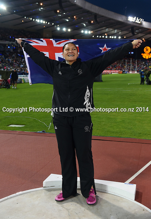 New Zealand's Valerie Adams who won gold in the Women's Shot Put. Track and Field at Hampden Park. Glasgow Commonwealth Games 2014. Wednesday 30 July 2014. Scotland. Photo: Andrew Cornaga/www.Photosport.co.nz