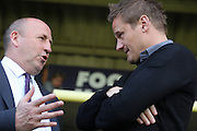 Accrington Stanley Manager John Coleman and AFC Wimbledon Manager Neal Ardley prior the Sky Bet League 2 Play-Off first leg match between AFC Wimbledon and Accrington Stanley at the Cherry Red Records Stadium, Kingston, England on 14 May 2016. Photo by Stuart Butcher.
