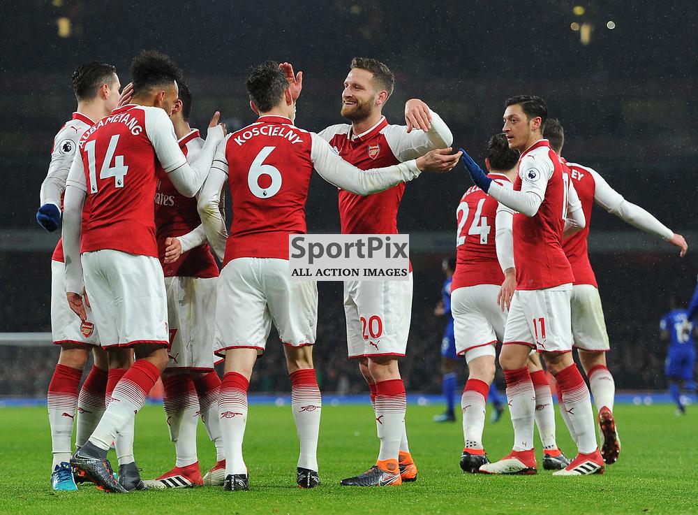 Laurent Koscielny of Arsenal celebrates with teammates after scoring his sides second goal during Arsenal vs Everton, Premier League, 03.02.18 (c) Harriet Lander | SportPix.org.uk