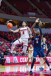 NORMAL, IL - November 29: Zach Copeland sails tot the basket passing Daniel Soetan during a college basketball game between the ISU Redbirds and the Prairie Stars of University of Illinois Springfield (UIS) on November 29 2019 at Redbird Arena in Normal, IL. (Photo by Alan Look)