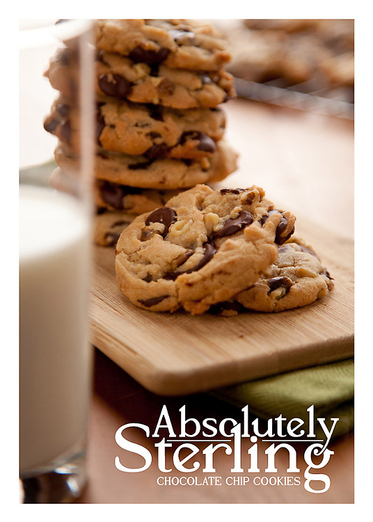 The front side of a recipe card for Absolutely Sterling Chocolate cookies  created by St. Louis Photographer Jonathan Gayman.