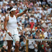 LONDON, ENGLAND - JULY 13:  Garbine Muguruza of Spain after her victory against Magdalena Rybarikova of Slovakia in the Ladies Singles Semi Final match during the Wimbledon Lawn Tennis Championships at the All England Lawn Tennis and Croquet Club at Wimbledon on July 13, 2017 in London, England. (Photo by Tim Clayton/Corbis via Getty Images)