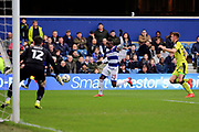 Queens Park Rangers midfielder Yeni Atito Ngbakoto (23) through on goal during the EFL Sky Bet Championship match between Queens Park Rangers and Rotherham United at the Loftus Road Stadium, London, England on 18 March 2017. Photo by Matthew Redman.