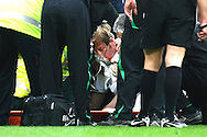 Norwich - Saturday March 27th, 2010:  Luciano Becchio of Leeds is knocked out and has to be stretchered off after a high challenge by Norwich's Michael Nelson during the Coca Cola League One match at Carrow Road, Norwich. (Pic by Paul Chesterton/Focus Images)