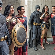 Cosplayers in their costumes, as members of the Justice League is an upcoming American superhero film based on the DC Comics superhero team.<br />
